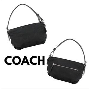 Coach East West Canvas & Leather Convertible Bag